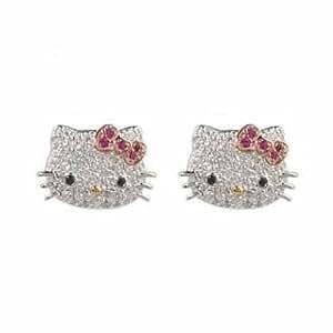Belle Hello Kitty Ados Boucles d'Oreille avec Zirconium Cubique Cristal Irisé Blanc et Rose