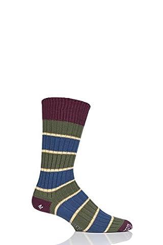 Corgi 100% Cotton Triple Stripe Socks - 7 - 9 Mens - Moss Green