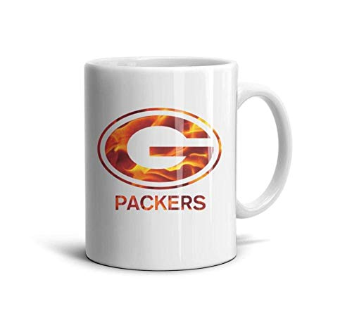 White Ceramic 11 OZ Tea Mugs Daily Use Mugs Tea Cup Friend,Dad,Grandpa,Brother Gifts,Green Bay Packers-7,One Size - Tea Maker Beste Iced
