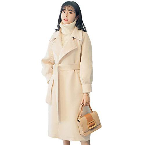 Qscg cappotto di lana da donna cappotto di lana lunga imbottito con collo a maniche lunghe con cintura autunno inverno,beige-s