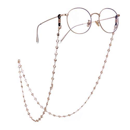 LIKGREAT 2 Stück Retro Brillenhalter für Frauen Herz Perlen Lesebrille Schnüre Gold(1pcs)