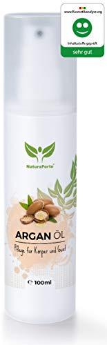 NaturaForte Arganöl 100ml für Haare, Gesicht, Haut, Nägel, Anti-Falten Anti-Aging Pflege-Kur Serum, Natürlich & intensiv feuchtigkeits-spendend, weiche, junge Haut, glatte Haare & gesunde Nägel