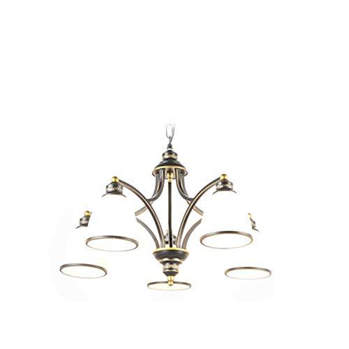 XH LIGHTING Anhänger Kronleuchter 5 Arme Metall Schmiedeeisen Land Retro Bronze Glas Klassische Küche, Wohnzimmer, Esszimmer E27,5 - Fünf Arm Schmiedeeisen Kronleuchter