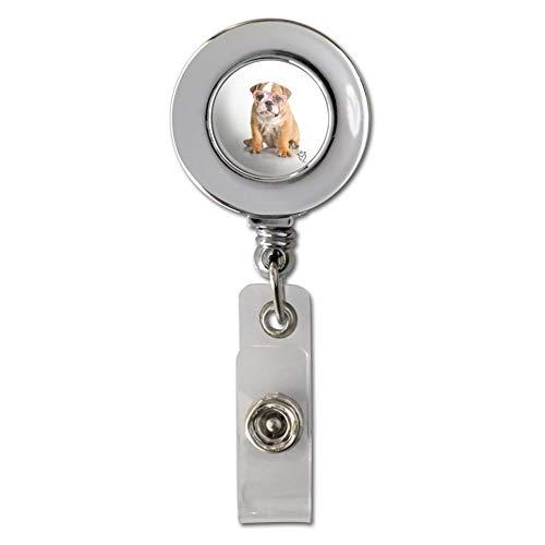 Ausweishalter mit Brille und Clip, Motiv: Britische Bulldogge, mit Hund, verchromt, einziehbar