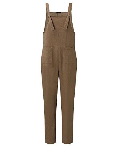 StyleDome Damen Lässig Insgesamt Baggy Taschen Lange Harem Playsuit Hose Jumpsuits Overalls Khaki