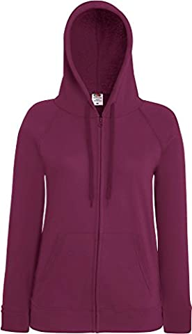 Fruit of the Loom Lady-Fit Lightweight Hooded Sweat Jacket 62-150-0 M,Burgundy