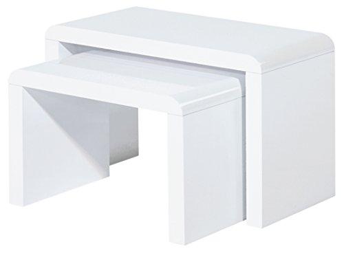ACTUAL DIFFUSION Vintage 2 Tables Basses Blanches Gigognes Panneaux Epais Bois, 30x60x41 cm