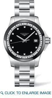 Longines Conquista quarzo nero e l3.281, 0,57.6 quadrante orologio da donna