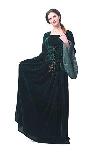 Nuoqi Mittelalterliches Damen Gothic kleid Kostüm Maskenkostüm Maxi kleider (Grün, (Kostüme Gothic Kleid Velvet)