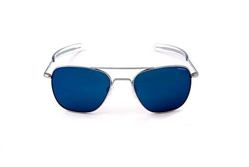 fbd9e2f33c6 Randolph Engineering Lunettes de soleil aviateur carrés en Chrome mat ciel  bleu Flash AF54668-PC