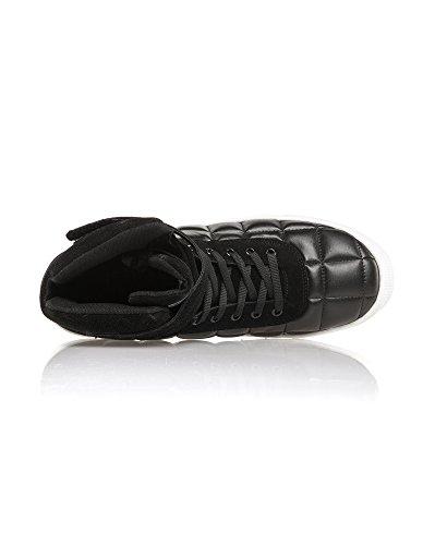 BLZ jeans - Baskets Montantes Noires Avec Lacets Noir