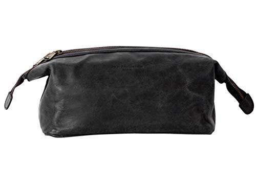 HOLZRICHTER Berlin handgefertigter Leder Kulturbeutel (M). Große, hochwertige Kulturtasche aus Leder in schwarz