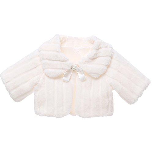 Icegrey bambina giacca pelliccia sintetica comunione coprispalle bolero mantella tippet bolero avvolgente bianco per altezza: 100-110 cm