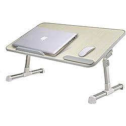 MAPUX Table Multifonctions réglable en hauteur et en angle Table réglable pour ordinateur portable Table Notebook livres table pour canapé, lit, terrasse, balcon, jardin, etc.