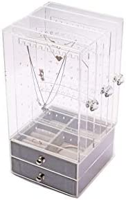 Acrylic Clear Transparent Jewelry Organizer Storage Box with Velvet Drawers for Women and Girls