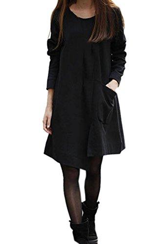 La vogue Loose Damenkleid Lange Blusekleid Long Shirt Schwarz