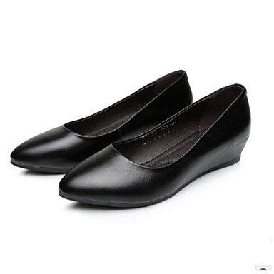 Wuyulunbi@ Scarpe donna pu Comfort estivo tacchi piatto punta tonda punta chiusa per Casual Bianco Nero Argento Rosa Noi6.5-7 / EU37 / UK4,5-5 / CN37