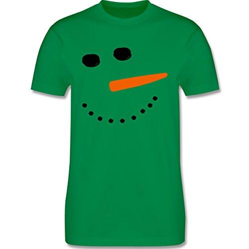 Après Ski - Schneemann Gesicht Snowman - Herren Premium T-Shirt Grün