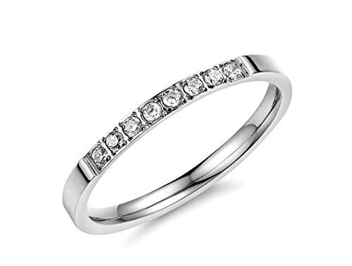 AnazoZ Damen Ringe Edelstahl 8 Zirkonia Strass Weiß Silber Ringe Ringgröße 49 (15.6) Modeschmuck