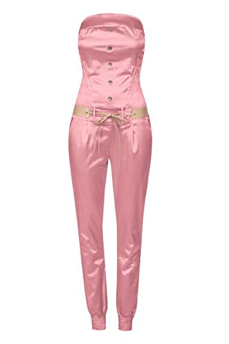 Laeticia Dreams Damen Jumpsuit Overall Bustier Sommer Lang S M L XL, Größe:40.L, Farbe:Rosa Glanz - Rosa Glanz