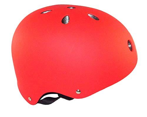 AuraZoom (TM) BMX Skateboard - Casco de ciclismo y skateboard, color rojo, tamaño Small