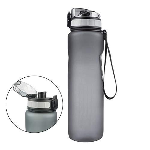 Sealed Sports Wasserflasche, 1L Kunststoff Silikon Bulk Sports Matt Wasserkocher mit tragbaren Lanyard für Outdoor Wandern Camping Radfahren Laufen 28,5 * 8cm - Grau