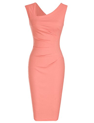 MUXXN Robe Crayon De Cocktail Jupe Mariage Femme Vintage Pin Up Robe(M,Pink)