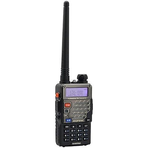 Baofeng UV-5R Plus - Walkie-talkie de 2 vías para aficionados (portátil, 136 - 174 / 400 - 480 MHz, 2 m / 70 cm, micrófono con altavoz remoto, modelo de 2013, instrucciones en alemán)