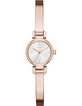 DKNY Damen-Armbanduhr Analog Quarz One Size, silberfarben, rosé