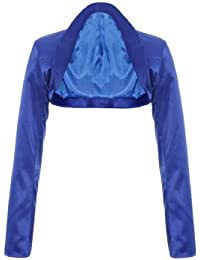Exklusiver Eleganter Langarm Satin Bolero Jacke Jäckchen Royal Blau