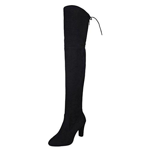 Knie Stiefel Damen Winter Btruely Frau High Heels Stiefel Herbst Schuhe Mode Mädchen Dicke Stiefel Warme Schuhe Slouchy Stiefelf Hohes Bein Schuhe Wildleder Lange Stiefel (39, Schwarz) (Slouchy-stiefel)