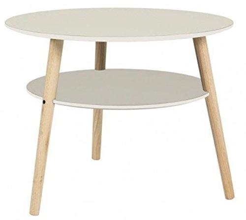 PEGANE Table d'appoint Rond en Bois Massif Coloris Blanc - Dim : Diam 60 x H50 cm