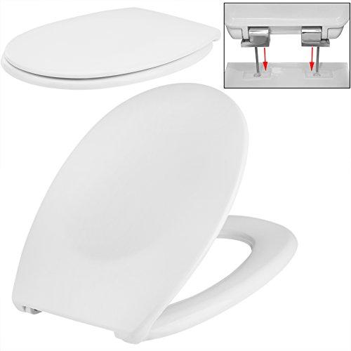 Toilettensitz aus Duroplast mit Absenkautomatik WC-Sitz Toilettendeckel Klodeckel Weiß