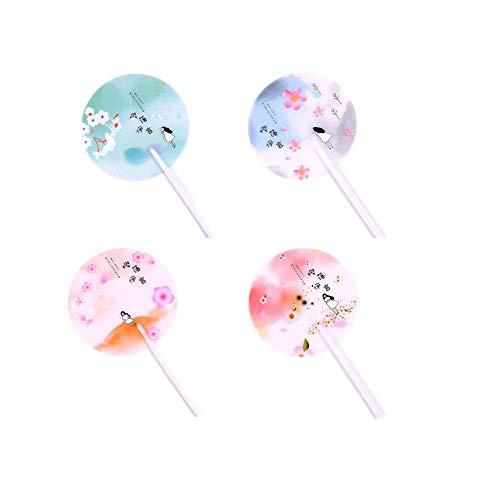 Motu 4 Stücke Sommer Handfächer, Runde Fächer Kunststoff Cartoon Sommer Hand Fan Japanischen Stil Sakura Muster Pink Hand Falten Mini Fans, für Hochzeit Party persönliche Dekor,Tanzen Kirche Geschenk