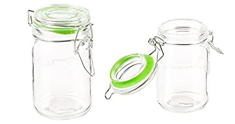 Small Clamp Lid Seal Storage Jar Preserve Container - Pack of 2