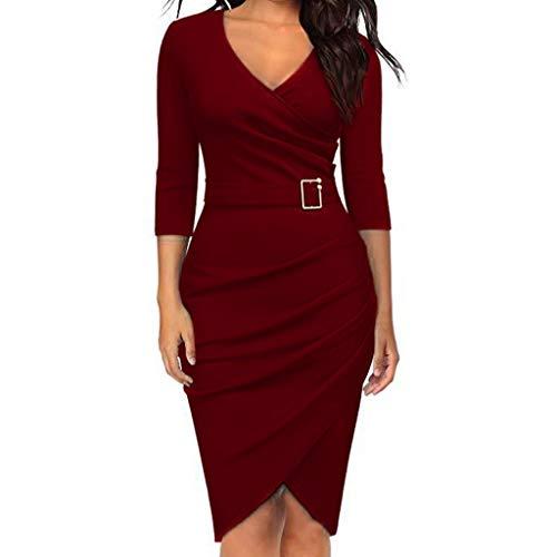 Frauen Sexy V-Ausschnitt fest Schnürung PaketHüftrock Kleid Party hohe Taille Dünnes Kleid URIBAKY