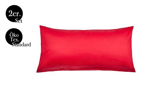 Kissenbezüge Doppelpack 2er Set von amato. Home Bettwäsche Kopfkissen-Bezüge Kissenhüllen Kissenbezug Kissen Sofakissen Bett Deko Rot 40x80 cm 100% Baumwolle Cotton Kinderbettwäsche (40 x 80 cm, Rot)