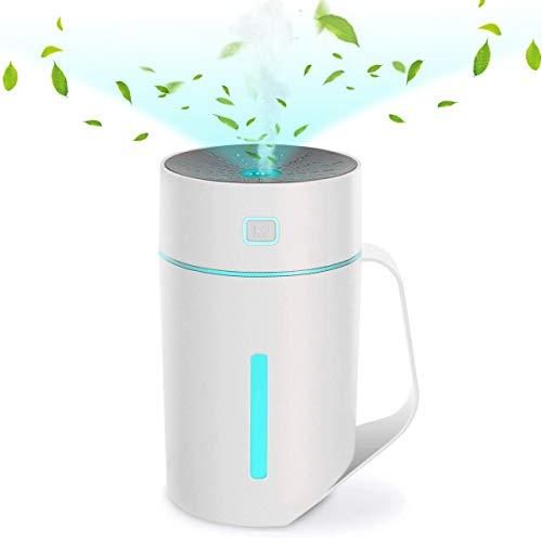 Kühl Nebel Luftbefeuchter 420ml, Ultraschall Aromatherapie Diffusoren, Bis zu 15H-Nutzung Mit 4 Stunden Automatischer Abschaltung, 7 Farbe LED-Leuchten, Tragbarer Luftbefeuchter für Büro, Schlafzimmer