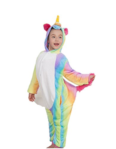 Z-chen pigiama tutina costume animale, bambina e bambino, unicorno multicolore, 3-4 anni
