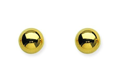 Pendientes de bola de oro amarillo de 14...