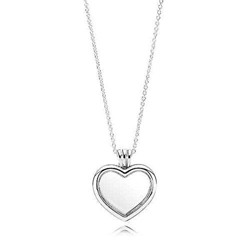 tte Herz Medaillon Silber/Weiß 60cm ()
