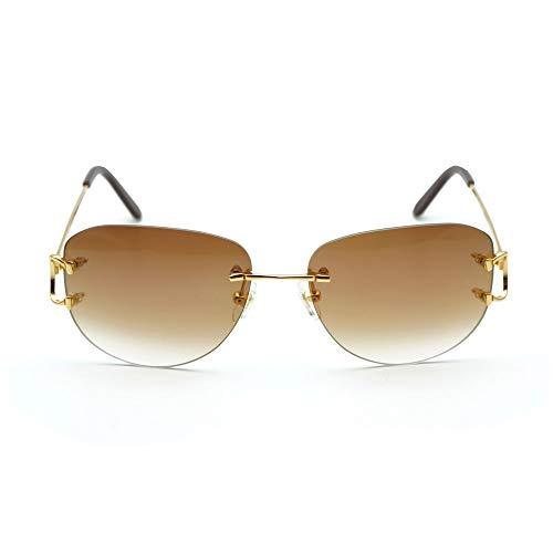 LKVNHP New Hohe Qualität Ovale Sonnenbrille Männer Brillengestell Für Frauen Trendy Randlose Decor Sonnenbrille Brillen Silber Brillengestell Braun Aviator Objektiv