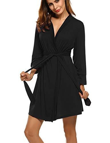 UNibelle Femme Veste de Bain Kimono Manche 3/4 Robe de Chambre Ceinture Noir S