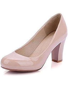 OL Pompe Uffici grosso tacco medio Round-toe delle donne casuali scarpe da sposa eleganti Albicocca Bianco Rosso…