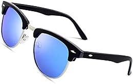 suchergebnis auf amazon de für sonnenbrille blaue gläser bekleidungcgid mj56 clubma unisex retro vintage sonnenbrille im angesagte 60er browline style mit markantem halbrahmen
