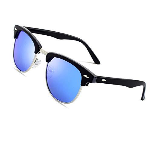 CGID MJ56 clubma Unisex Retro Vintage Sonnenbrille im angesagte 60er Browline-Style mit markantem Halbrahmen Sonnenbrille,Brillen trends 2018, A Schwarz-blau, 51