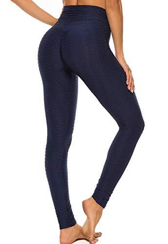 FITTOO Mallas Leggings Mujer Pantalones Deportivos Yoga Alta Cintura Elásticos y Transpirables Azul Oscuro M