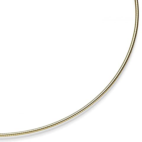 1.5 mm Round Omega Necklace Choker Chain Necklace 585 Yellow Gold 50 cm