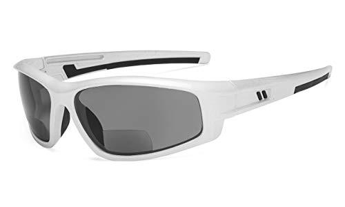 Eyekepper Bifokal Sonnenbrille für Sport TR90 Draussen Sonnenscheinleser (Perlig Silber Rahmen-Grau Linse,+1.50)