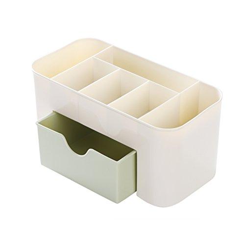 OUNONA Boîte de Rangement Comestics maquillage organisateur de bureau cosmétique porte maquillage avec tiroir (Vert + Blanc)